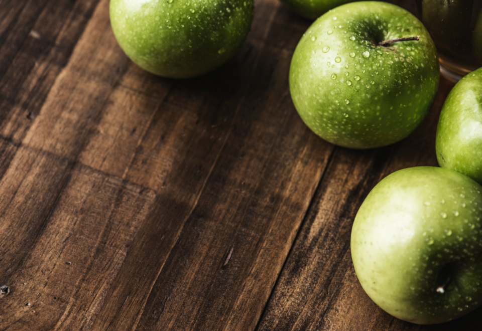 apple closeup fresh freshness fruit green green apple harvest health healthy healthy food healthy living ingredient macro natural nutrient nutrition organic sour tasty vitamin wellbeing wellness wet wooden table