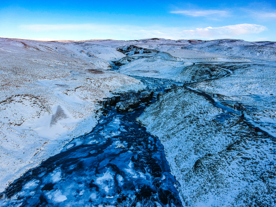 winter river landscape nature outdoors outside frozen ice snow scenic sky clouds wilderness cold freezing rural