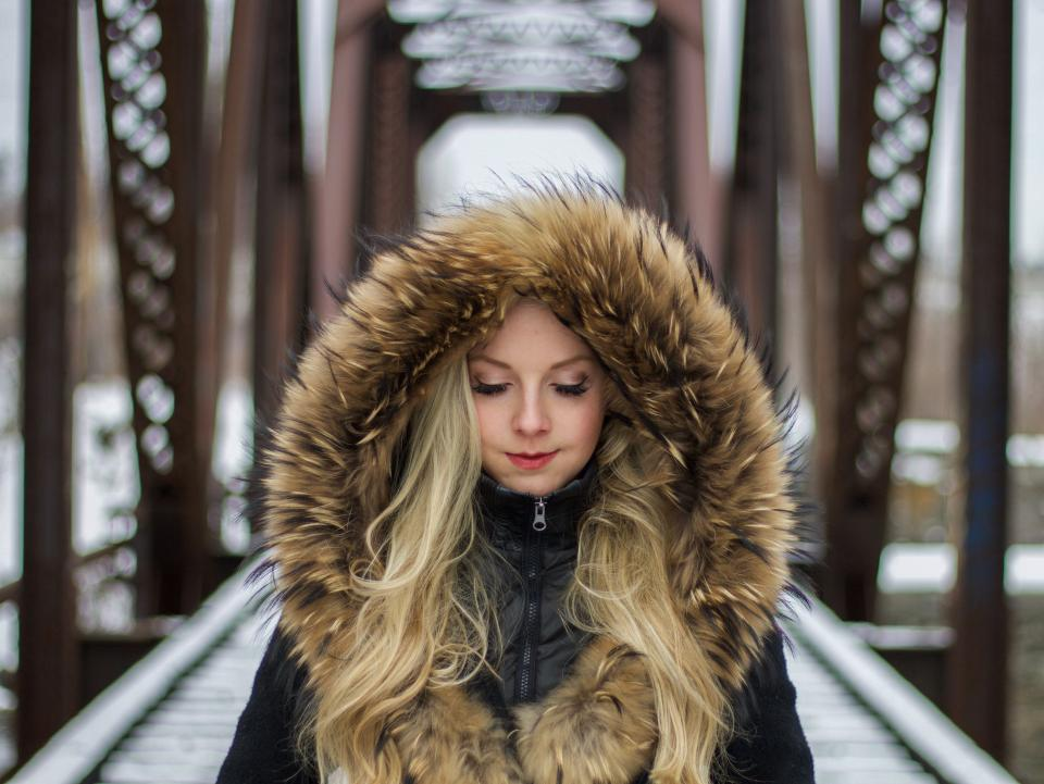 people woman fur jacket model fashion beauty cold hair blonde make up architecture bridge