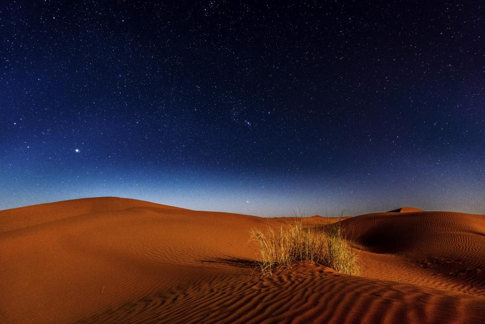 desert landscape highland mountain sky stars travel nature grass