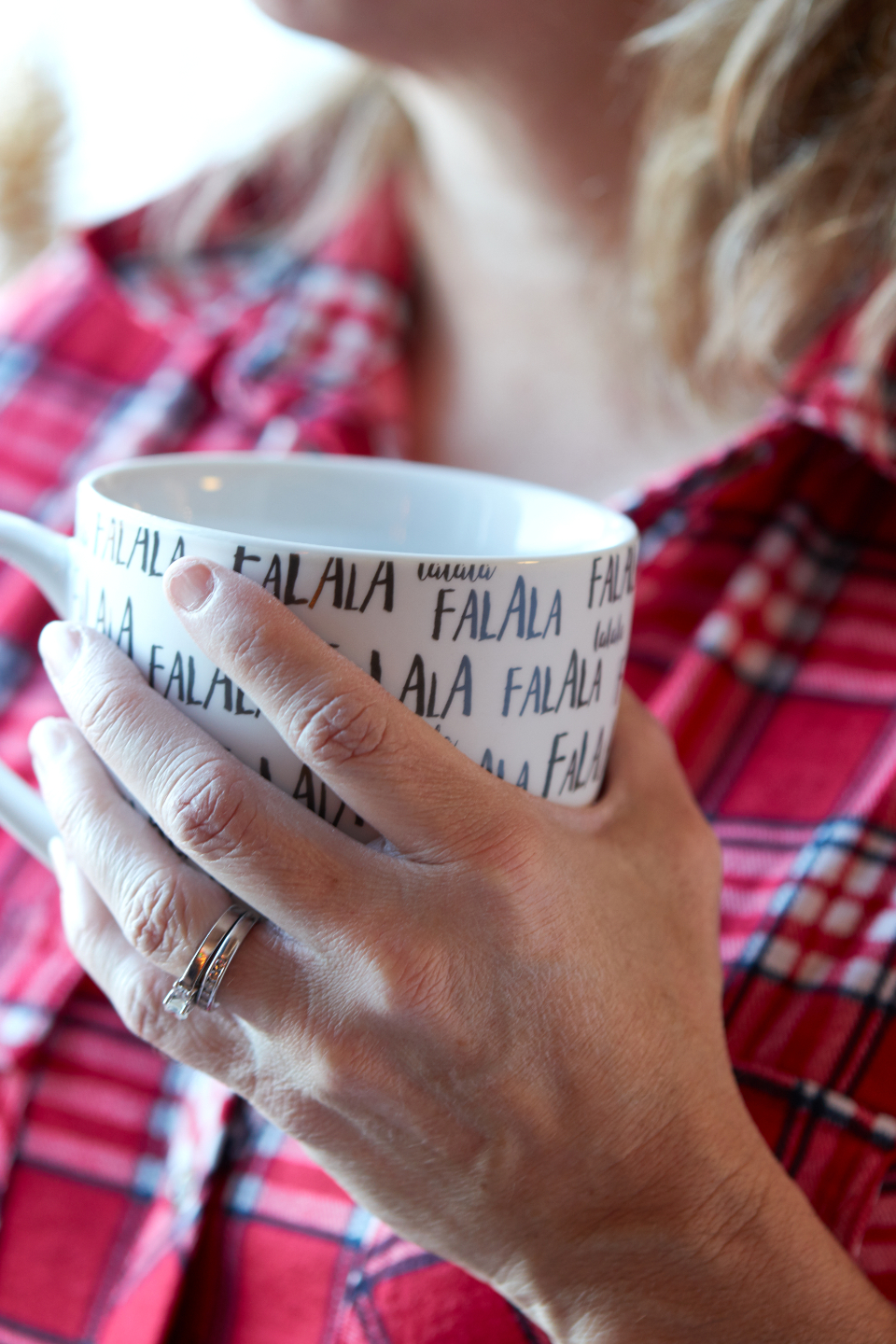cozy coffee mug woman christmas hot beverage background drink adult hand warm object close up festive person plaid flannel