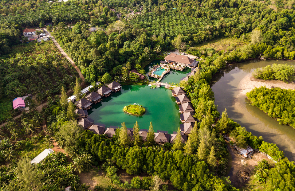 Thailand Resort Exotic Drone Photo green tree grass rive lake pool house home hotel architecture travel
