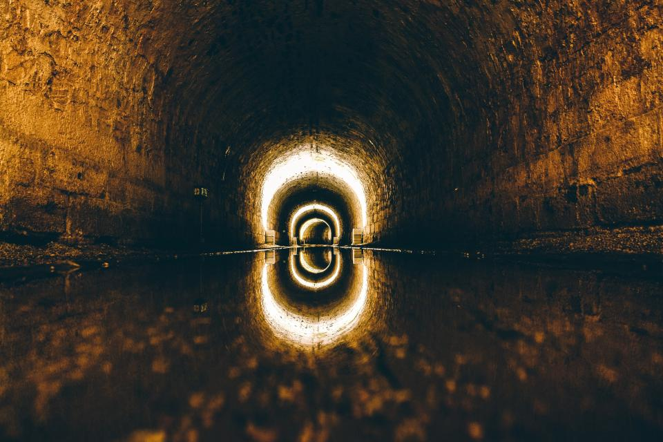 road path tunnel pattern cylinder metro underground sewer sewage system light illumination