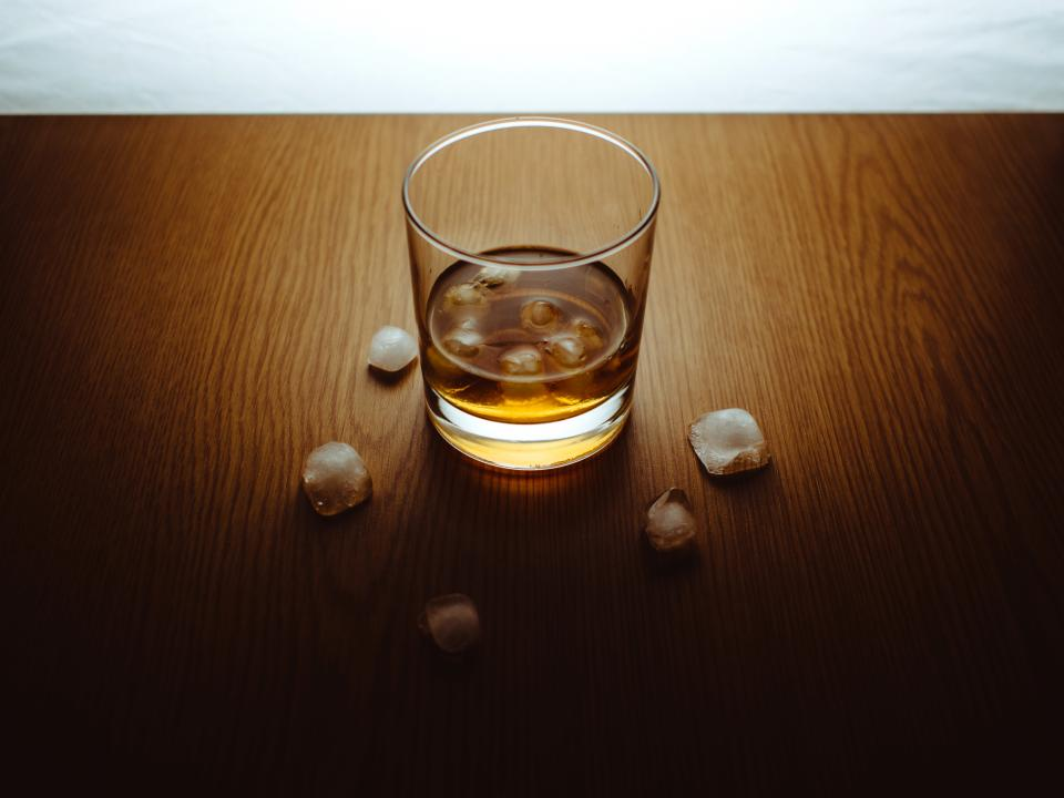 glass whisky on the rocks alcohol drink ice cubes