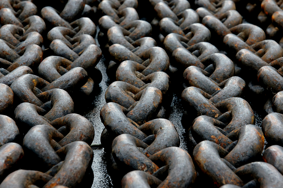 abstract rusty chain links metal heavy pattern aged closeup iron chains industrial long strong thick objects