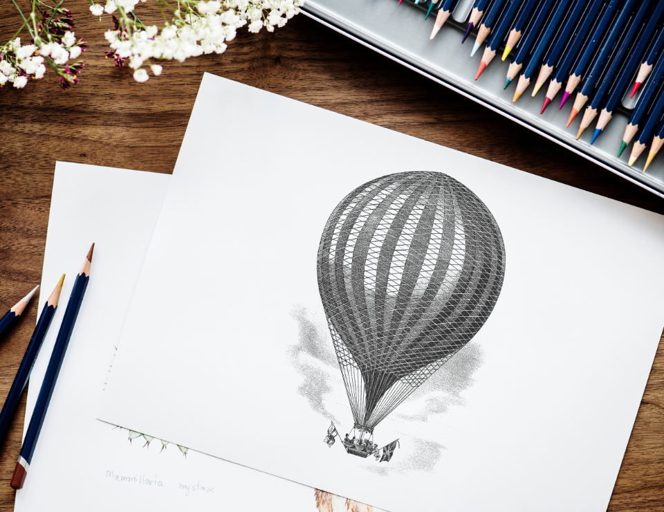 artist colorful cute design drawing flat lay flatlay freelance freelancer hobby illustration illustrationist paper pen pencil person set stationery work working workplace workspace writer balloon art