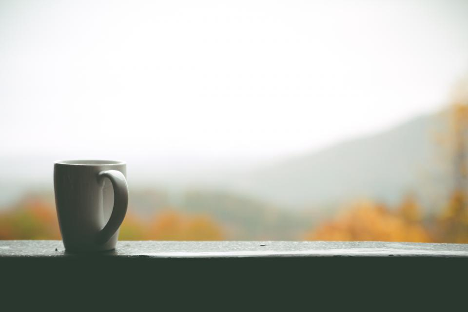 cup mug coffee window mountain nature leaves autumn fall trees