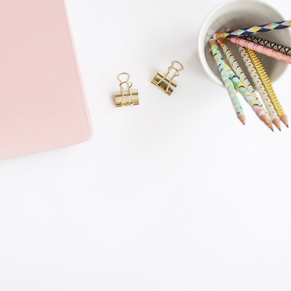 cup flat lay clips pencils pastel copyspace blank top overhead background stationery desk simple minimal