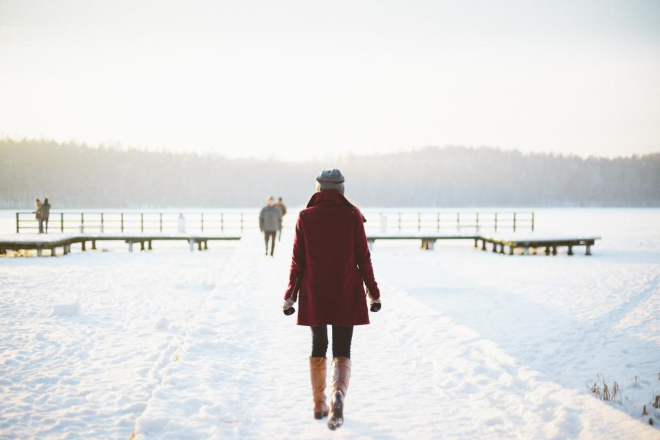 girl woman walking outdoors snow cold winter fashion people nature