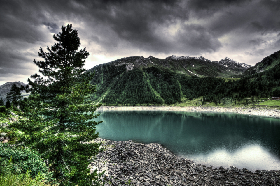 lake water mountains landscape nature outdoors grey clouds sky storm hdr wallpaper