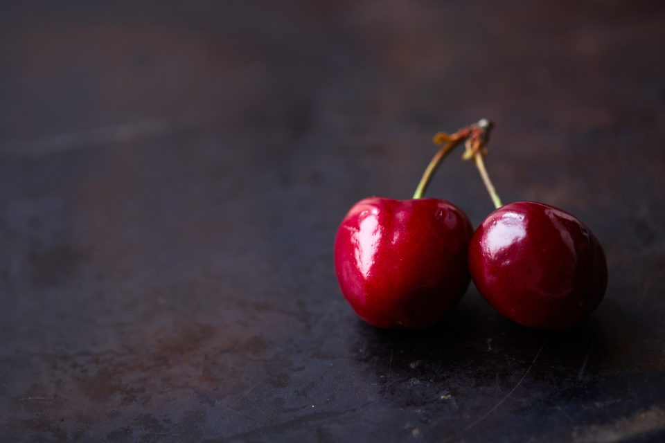 cherry isolated fruit minimal food wooden background healthy sweet juicy table red berry