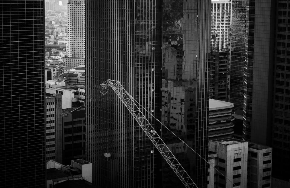 architecture buildings infrastructure black and white crane construction tower skyline skyscraper