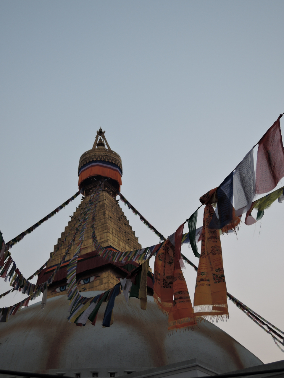 nepal temple flags dawn sunrise travel culture prayer
