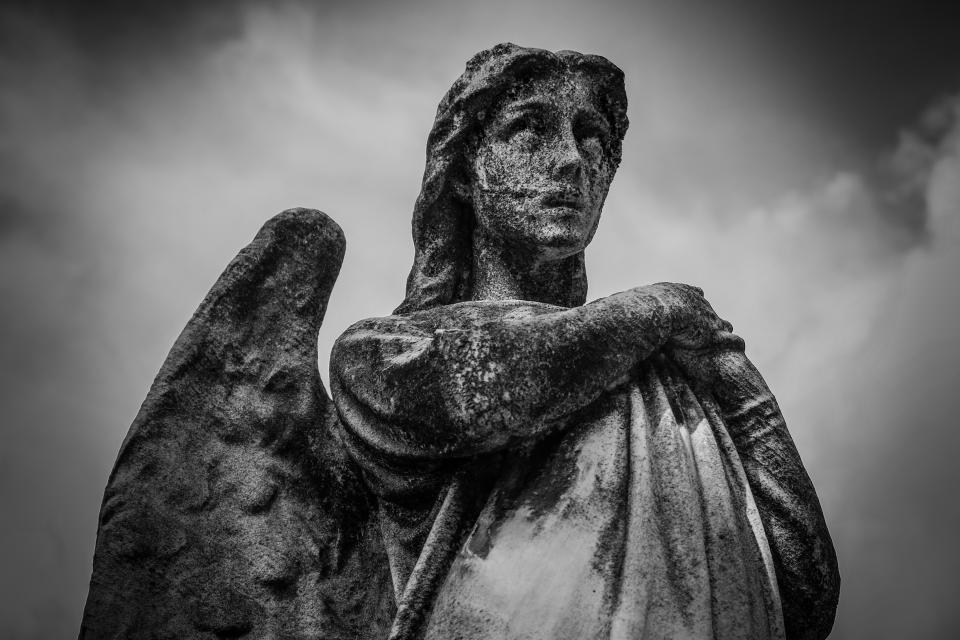 angel statue sculpture monument monochrome black and white sky clouds art
