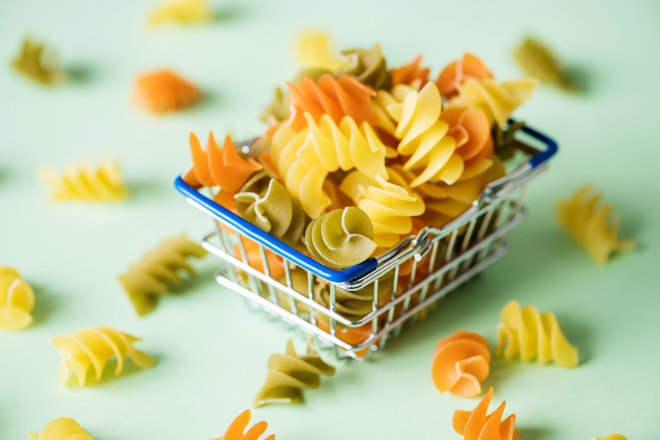 food desktop background basket carbohydrate classical close up closeup colorful cooking cuisine culinary dry food fusilli gourmet green groceries ingredient italian italy kitchen macaroni menu mini miniature mint multic