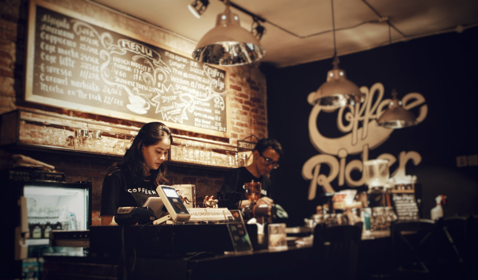 restaurant bar coffee shop interior rustic vintage retro barista coffee shop man woman girl business café cashier