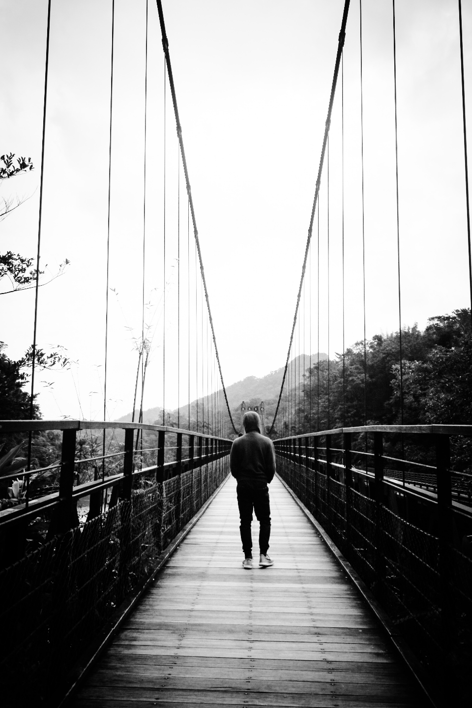 bridge walking stocksnap person io hoodie river downloads travel adventure