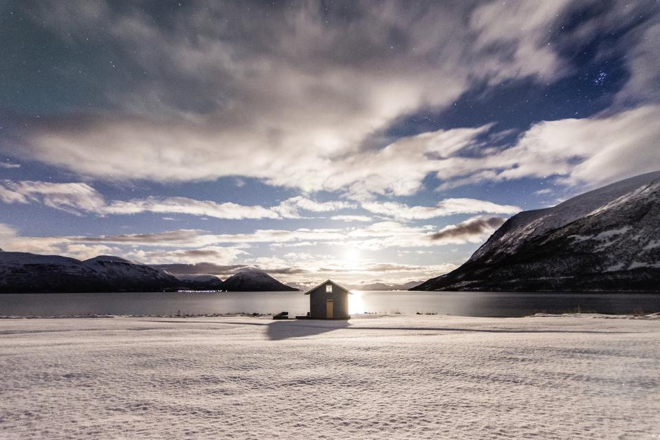 nature landscape mountains snow sky clouds water house