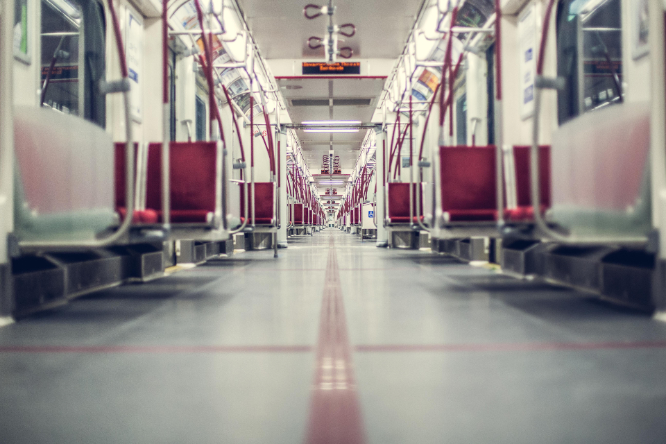 travel inside train subway underground red transport empty quiet city industry railway transit urban