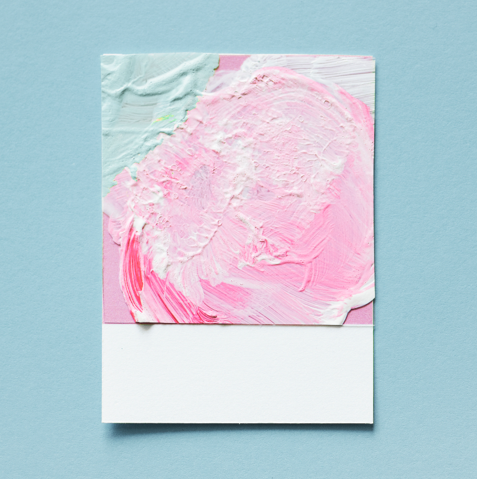 art blue card close up colorful copy space creativity design drawing green isolated lay flat micro object oil paint paint paper pink top view toy