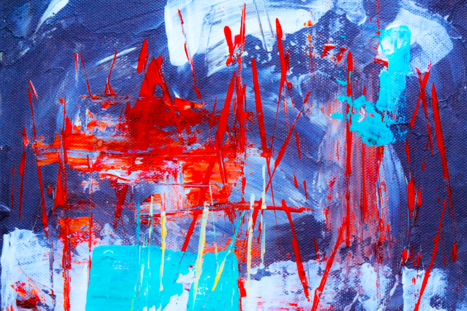 abstract blue painting art artist creative design paint paintbrush canvas splatter messy red texture
