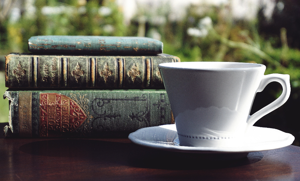 books tea reading vintage old antique literature outdoors leisure relax poetry cup coffee