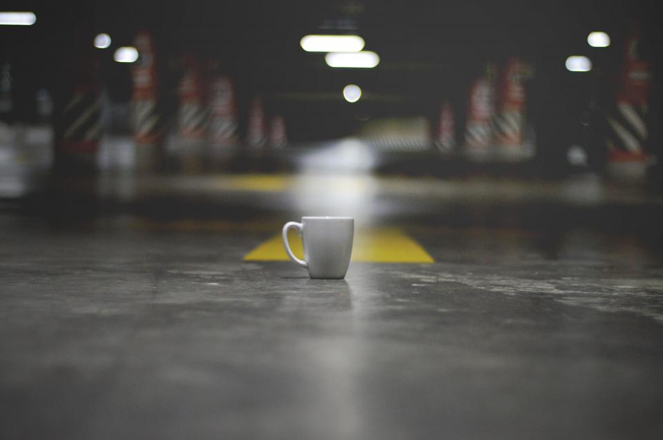 lights mug cup floor parking space creepy