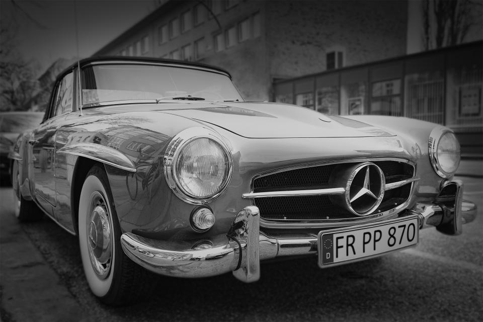 car benz old vintage plate number black and white monochrome