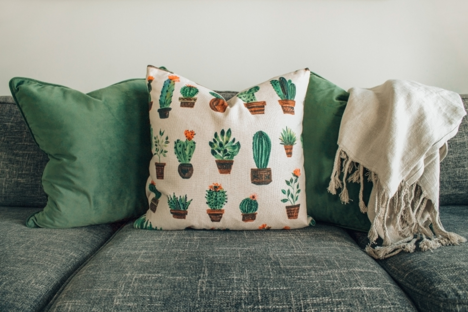 cactus interior design cushion couch grey green throw white home house
