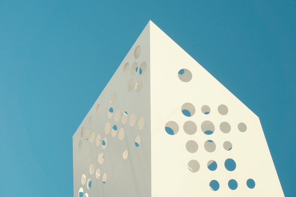 architecture buildings sculpture modern art steel holes nature sky blue
