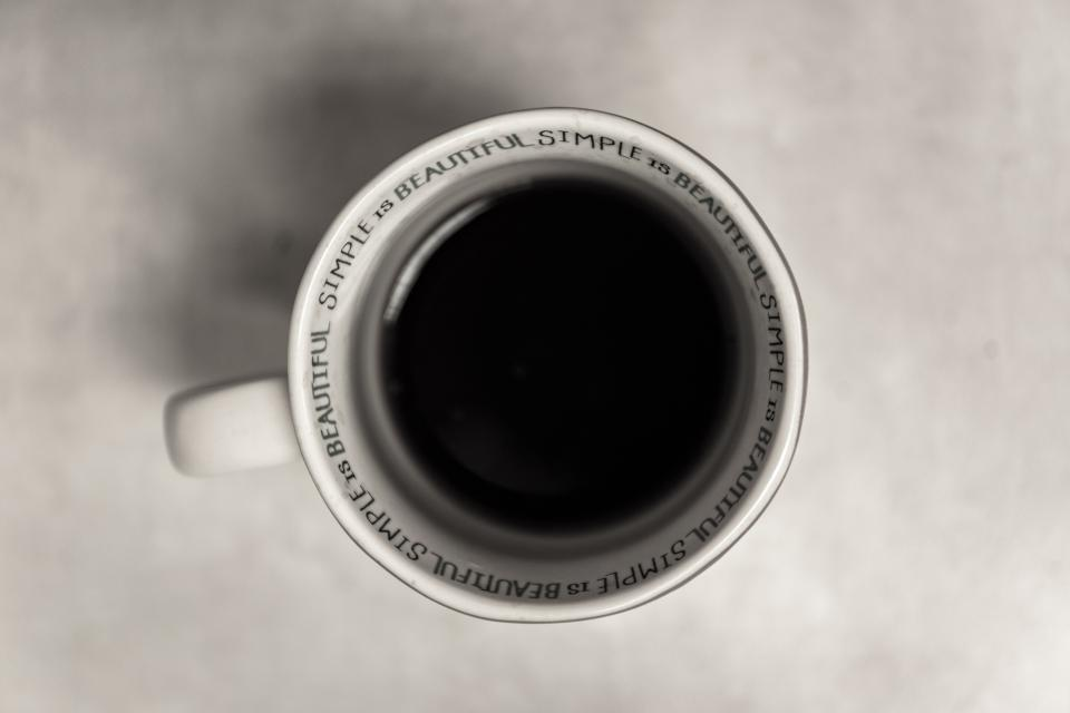 still items things drink beverage cup coffee aerial top view quotes excerpts simple is beautiful white black