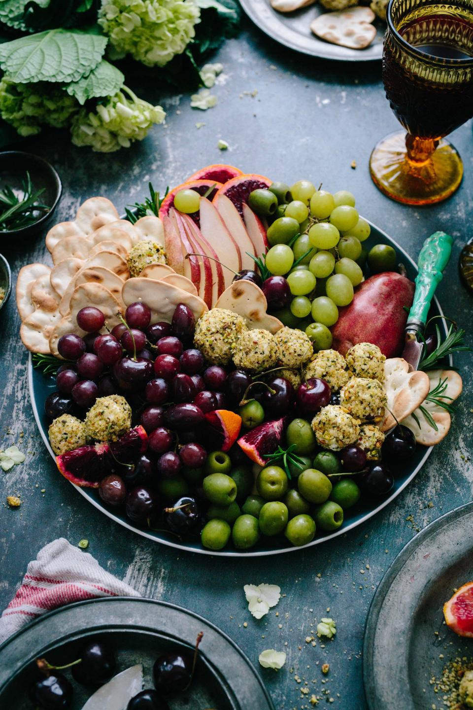 fruits healthy food grapes bowl biscuit glass apple slices rice snack cloth table vegetables