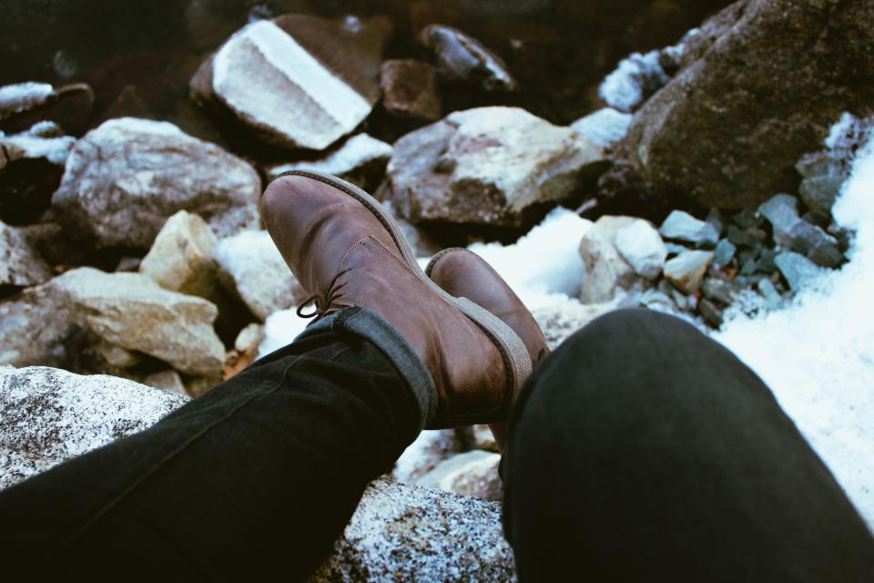 feet leather boots pants rocks people man lace shoes sole