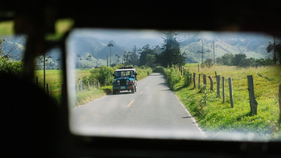 nature landscape green grass road travel adventure jeep window mountain travel adventure