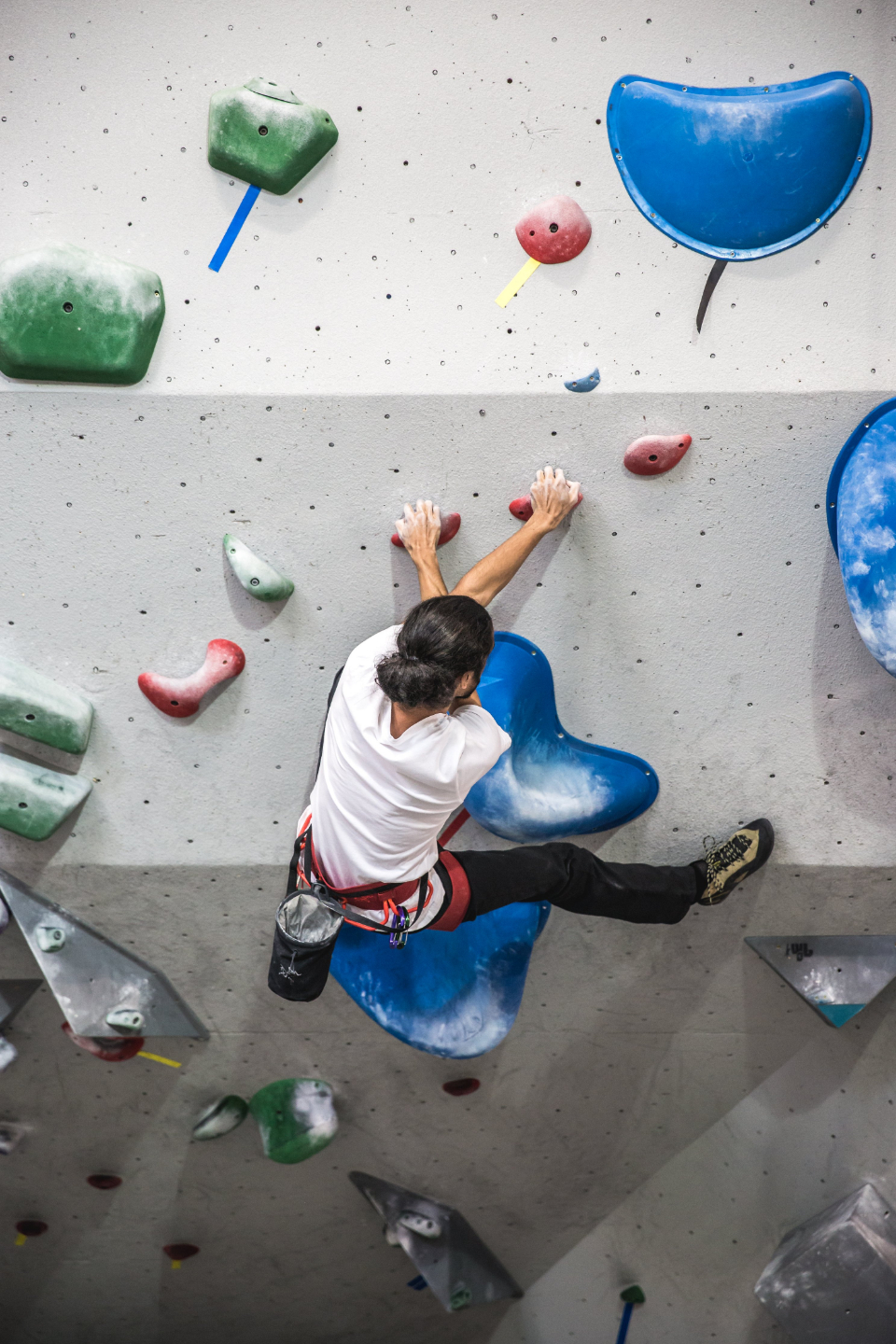 rock climb wall indoors man person climber exercise fitness sport activity healthy strength