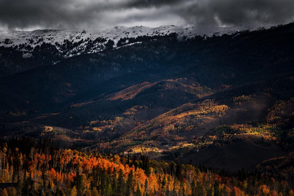 mountain valley trees landscape nature view cloudy autumn fall