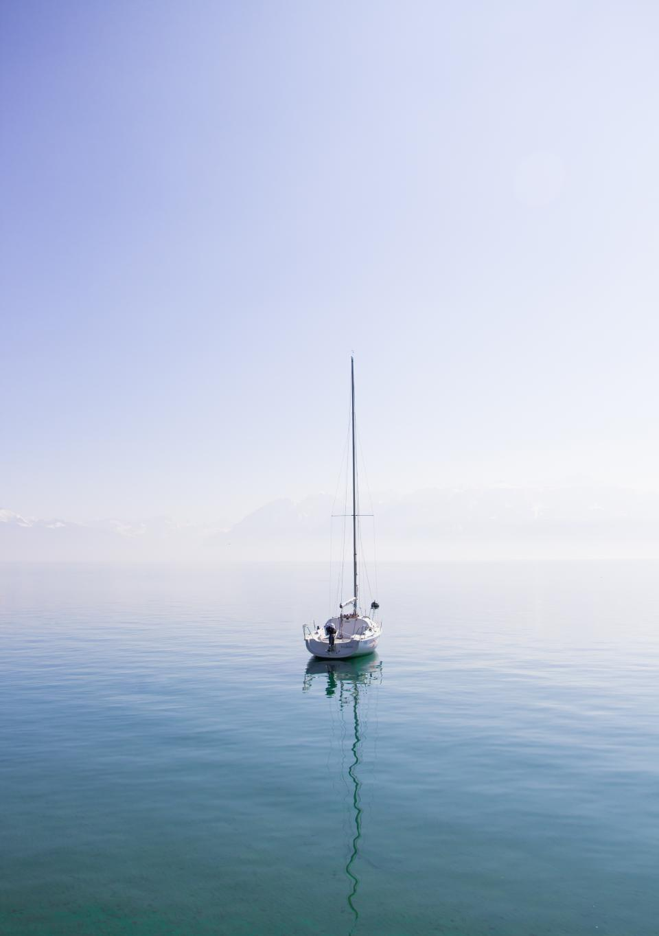 sea ocean blue water nature reflection ship boat transportation