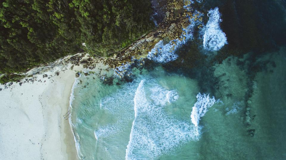 nature landscape water ocean sea beach aerial travel adventure vacation waves sand woods forest trees