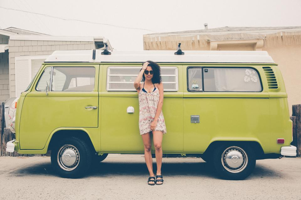 girl woman van vintage dress fashion clothing sunglasses automotive people