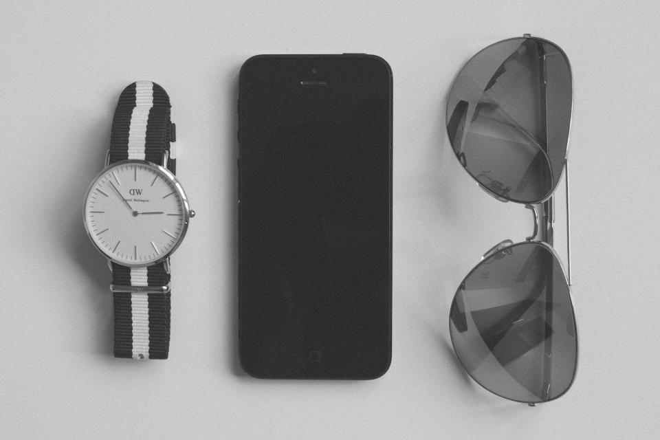 watch sunglasses accessories iphone mobile technology objects black and white