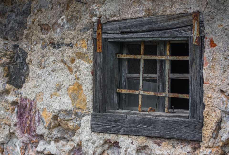 rough wooden window house purple rural decorated vintage decor rustic beauty weathered aged frame locked background outdoor italy wall stone tuscan detail old