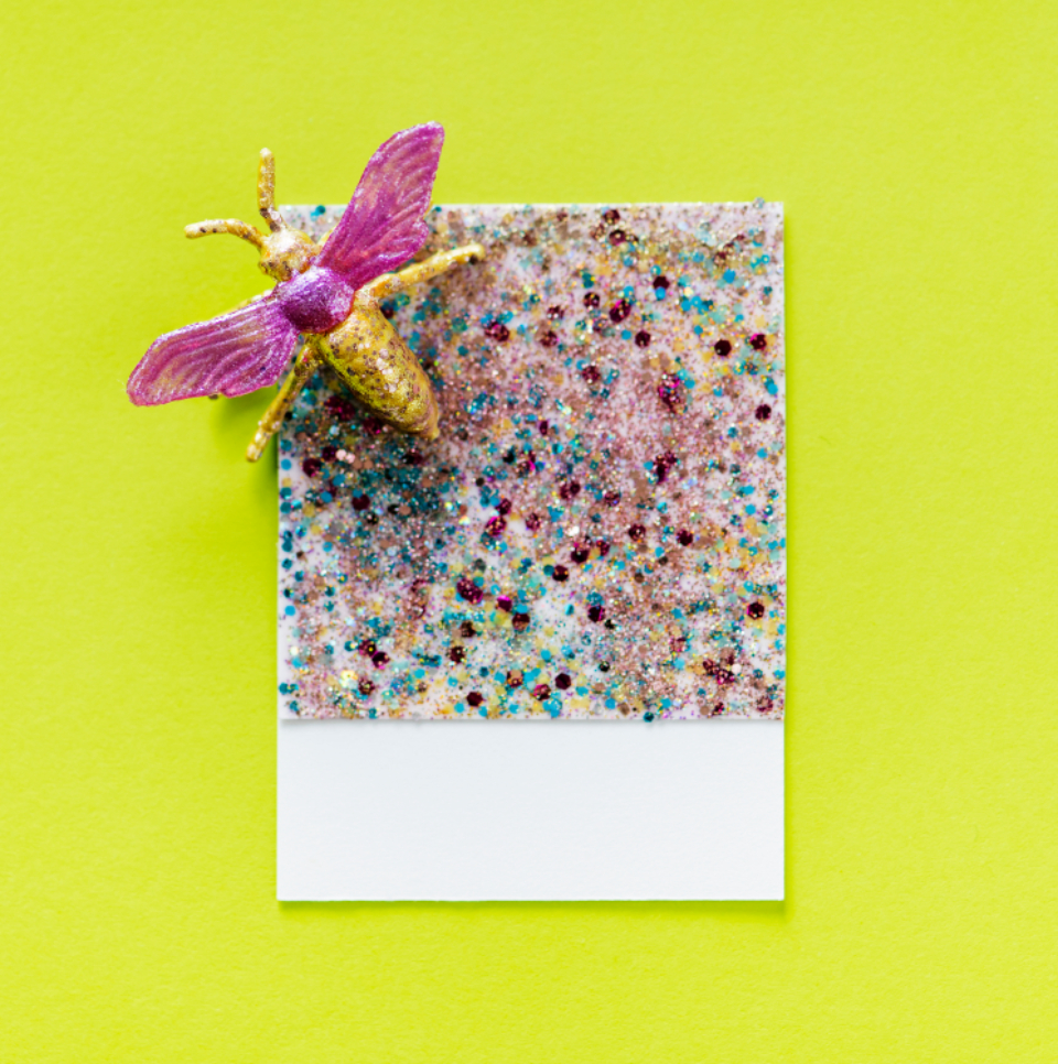 abstract bug card colorful confetti craft decoration decorative design design space disco effect festive fly glamour glitter glittery glow glowing green insect macro metallic ornament paper pastel pattern pink retro
