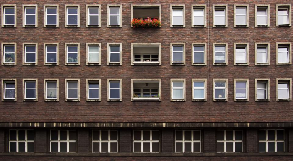 architecture building apartment windows symmetry
