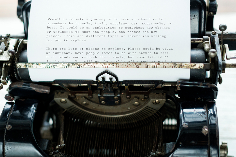 typewriter vintage journalist career classic creative document editorial equipment keyboard machine old fashion paper publish retro story tool type typescript work work from home workspace write