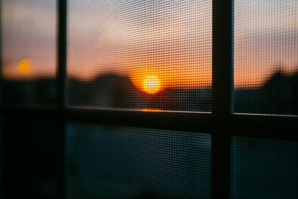 sunset dusk screen window