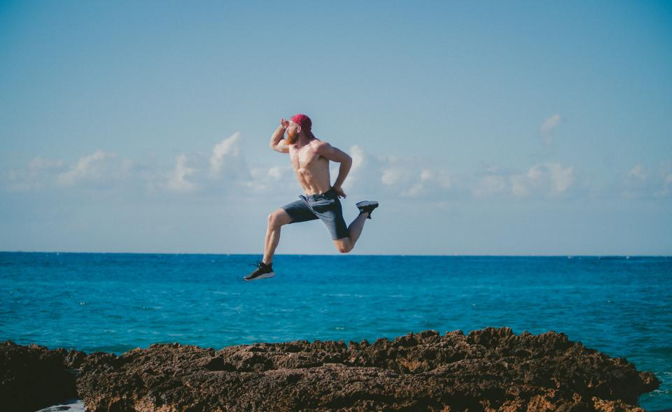 sea ocean blue water nature cloud sky rock coast people man guy jump adventure outdoor travel summer