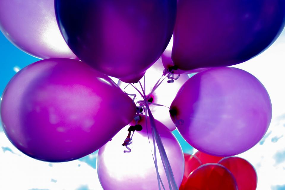 balloon colorful red blue violet party sunny day birthday