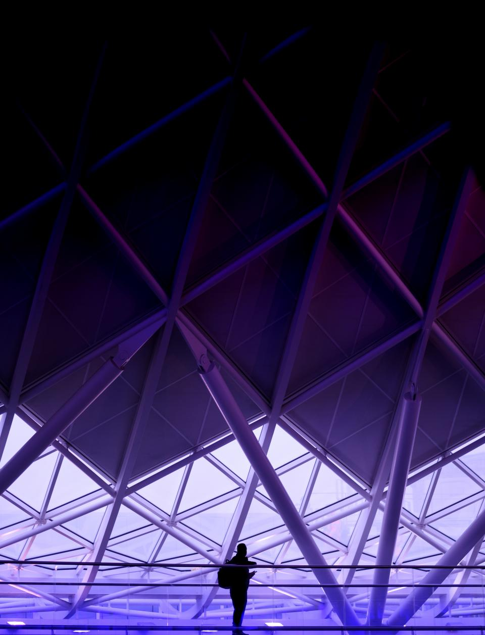 architecture building infrastructure purple light people travel alone silhouette