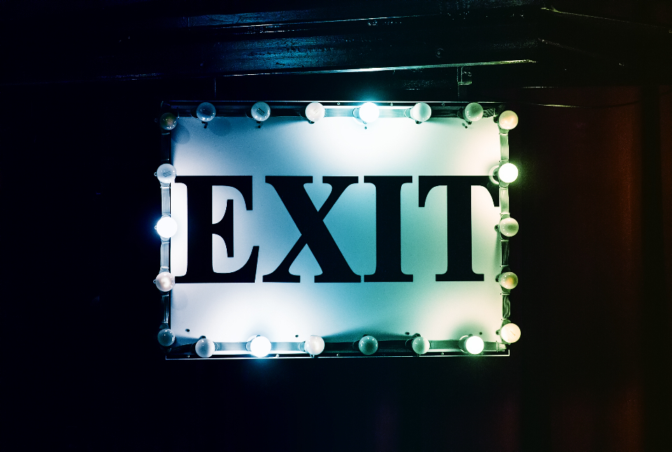 exit sign neon typography lights bulb light bulb black white cinema theatre