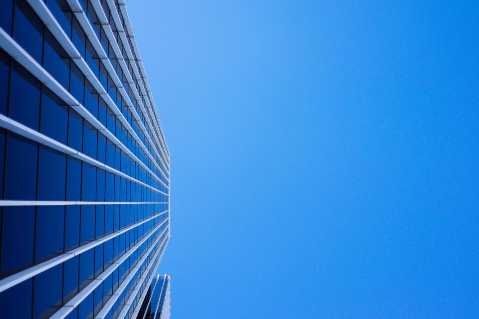 blue sky sunshine building corporate business office windows